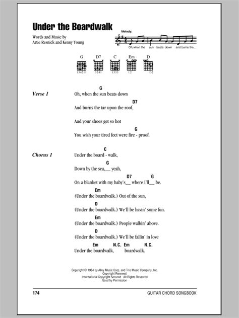 printable lyrics to under the boardwalk under the boardwalk sheet music by the drifters lyrics