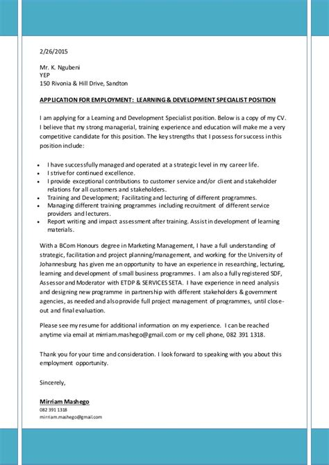 Learning Support Cover Letter Covering Letter Cv For Learning Development Specialist