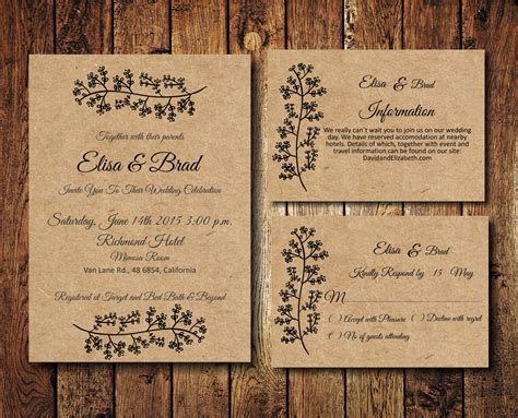 rustic photo wedding invitations rustic wedding invitation suite kraft paper wedding invite