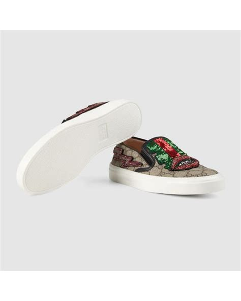 Shoes Gucci D4168 Sale Bahan Canvas gucci gg supreme canvas slip on sneaker in lyst