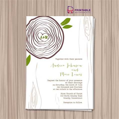 printable invitation kits rustic tree ring wedding invitation template wedding