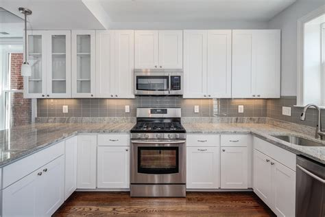 Pictures Of Backsplashes In Kitchen by White Cabinets Grey Backsplash Kitchen Subway Tile Outlet