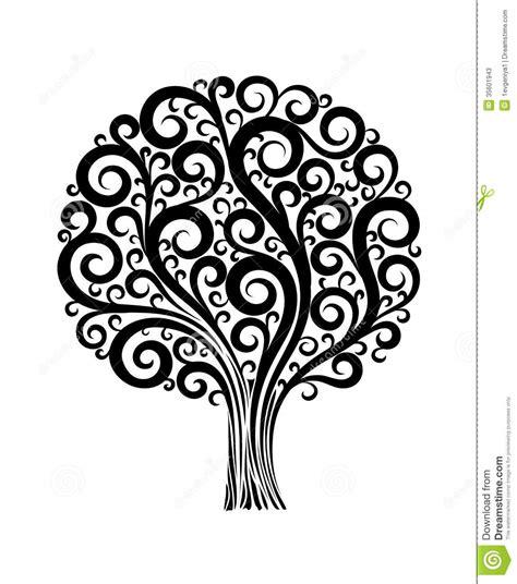 cute simple tree designs free clip art black tree in flower design with swirls and flouri stock