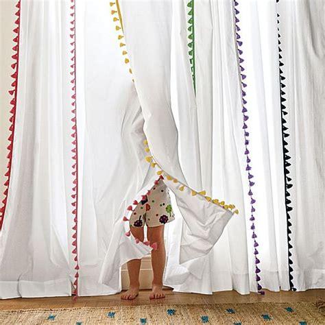 Pom Pom Trim Curtains More For Four Pom Pom Trim Curtains