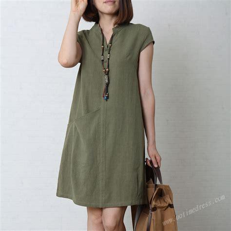 army green s sundress cotton linen dress v