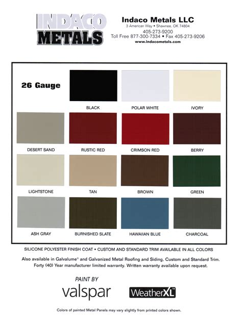 metal building colors resources indaco metals metal building and roofing