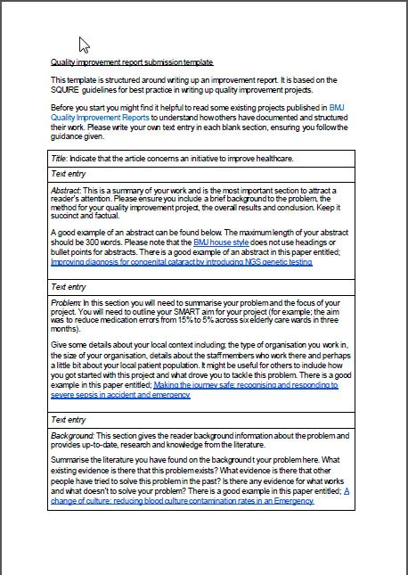 quality improvement report template squire template for bmj quality report