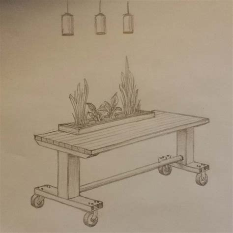 Planter Table by Industrial Style Table With Planter Box Slipstream Creations