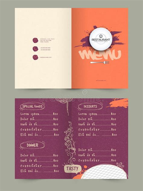 page restaurant menu card design stock illustration