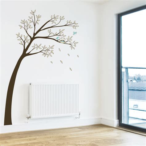 blue wall stickers blue birds in a pretty tree printed wall decals graphics stickers