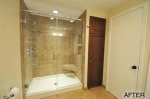 Shower With Bath Base fiberglass base amp tile walls in wauwatosa wi