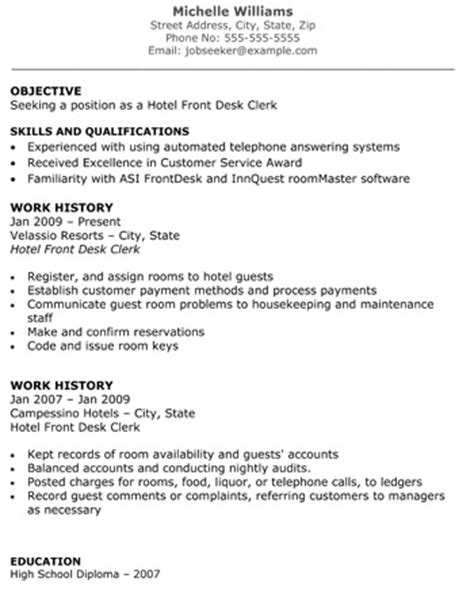 hotel front desk clerk resume front desk resume exles by williams
