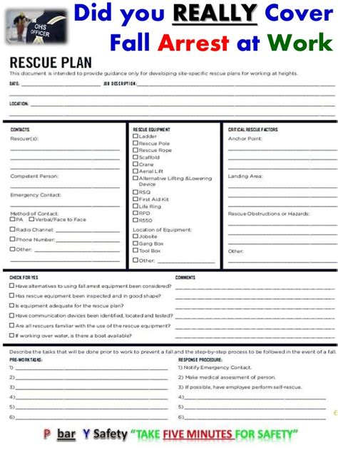 Did You Really Cover Fall Arrest At Work Show Me The Written Rescue P Fall Protection Plan Template