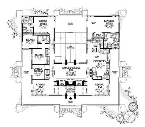 Southwest House Plans With Courtyard House Plan 99289 At Familyhomeplans