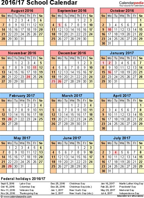 Hraconsulting Calendar 2018 School Calendars 2016 2017 As Free Printable Pdf Templates