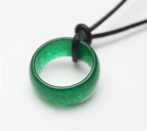 imperial green jade ring on leather necklace s070