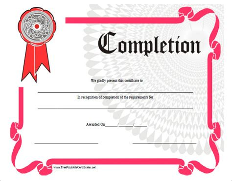 completion certificate template completion certificate templates 36 free word pdf psd