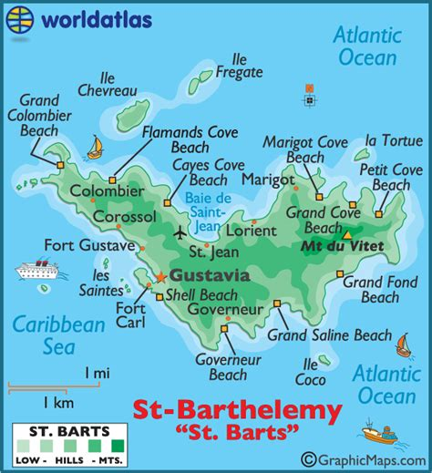 st barts map barts large color map