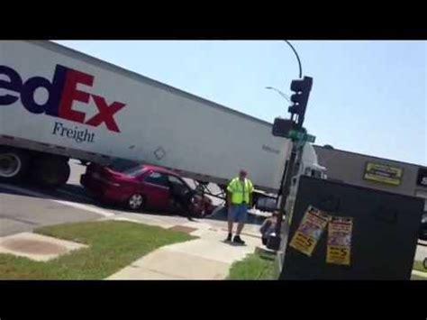 semi truck  wide turn hits car youtube