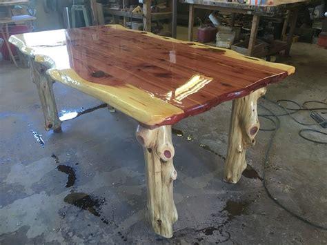cedar kitchen table  log legs wood table legs cedar