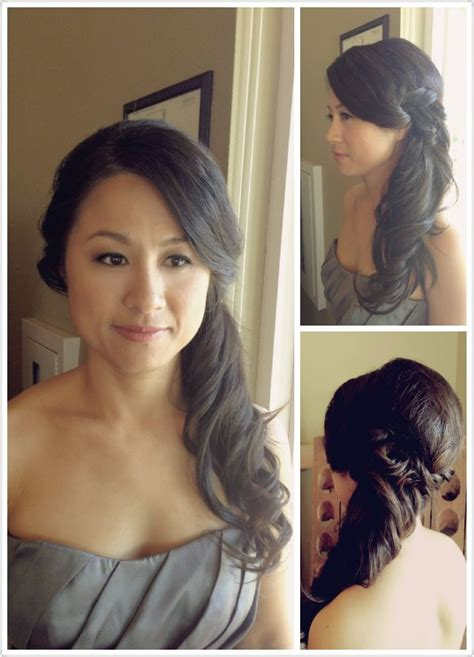 asian bridesmaid hairstyles with color wedding hair side pony tail bridesmaids hairstyle