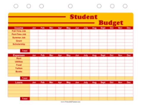 printable budget planner for students free printable planners