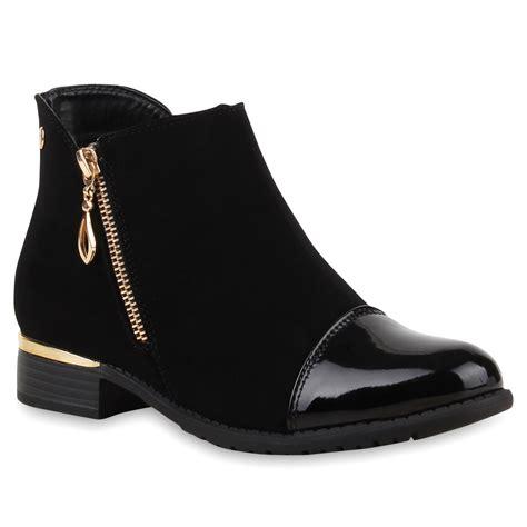 Lack Stiefeletten Damen by Trendy Damen Stiefeletten Ankle Boots Lack Zipper 74841 Ebay