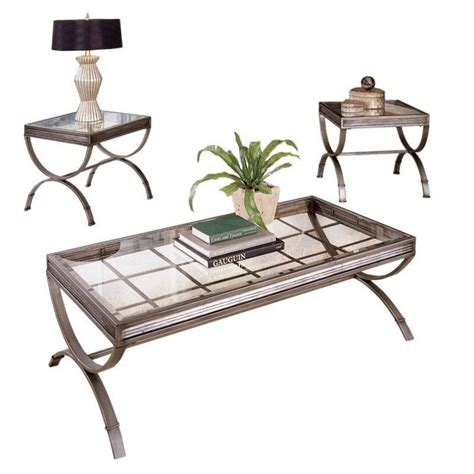 Steve Silver Coffee Table Sets Steve Silver Company Emerson 3 Coffee And End Table Set In Silver Em1000