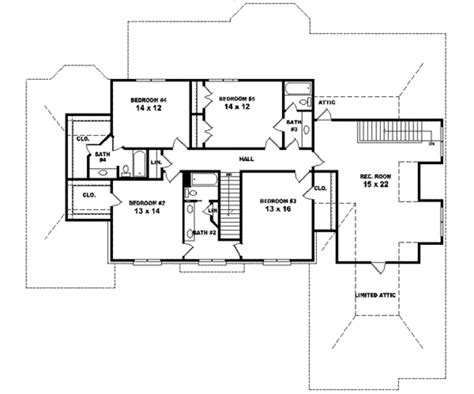 Traditional Style House Plan 5 Beds 4 Baths 4500 Sq Ft 4500 Sq Ft House Plans