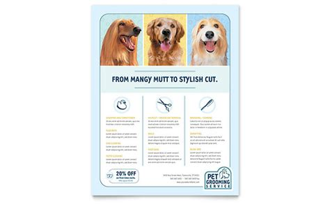 grooming flyers template pet grooming service flyer template design