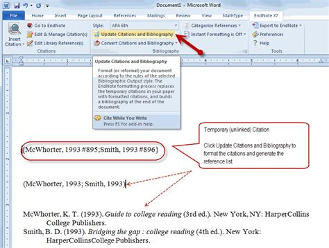 how do you re link word document to endnote file endnote
