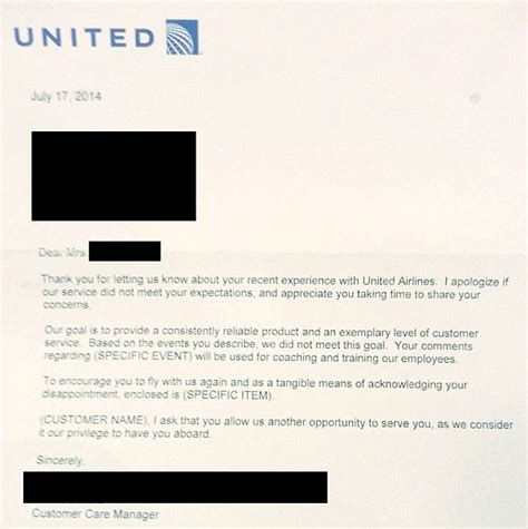 Airline Customer Service Complaint Letter Sle United Airlines Forgets To Fill In The Blanks In Response To Passenger Complaint Daily Mail