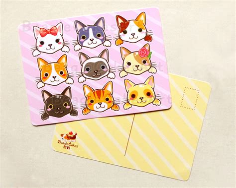 Post Card Cat Greeting Card Sno038 cats postcard illustrated postcards animal postcards thank you note cards animal