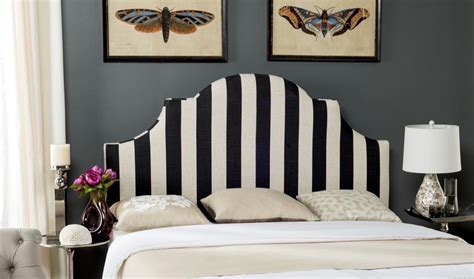 hallmar black white stripe headboard headboards