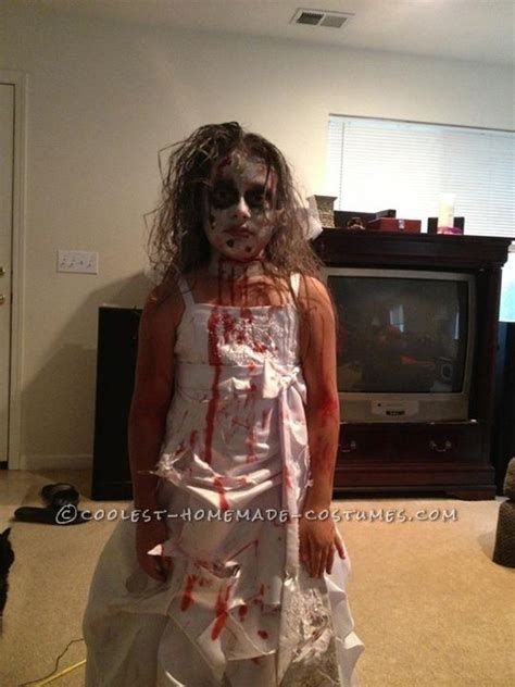homemade zombie bride costume   girl   zombie