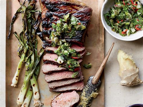 tri tip steak with grilled scallion ginger and cilantro relish recipe food wine recipe