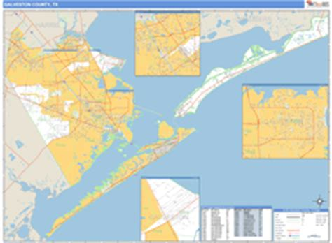 galveston texas zip code map galveston county tx zip code wall map basic style by marketmaps