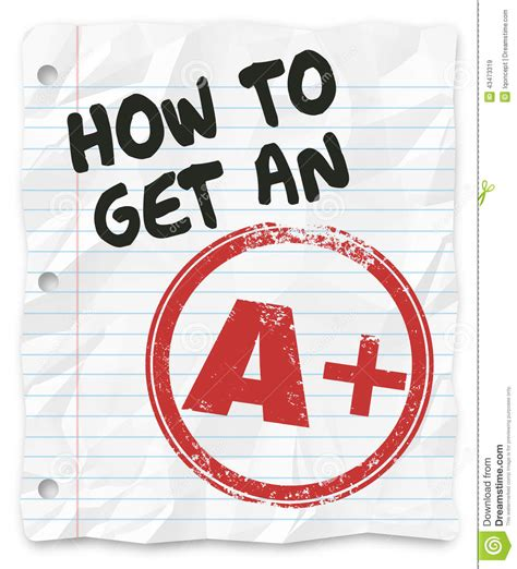 How To Make A Paper Get - how to get an a plus grade score school paper report stock