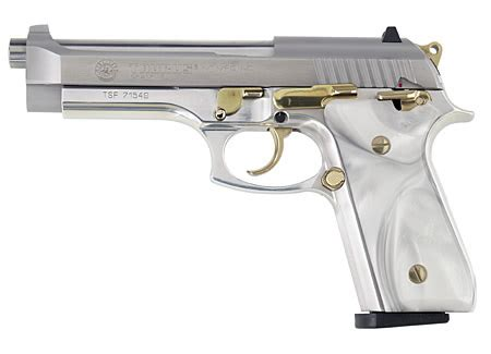 100 .40 s&w pistol with gold accents and mother of pearl grips