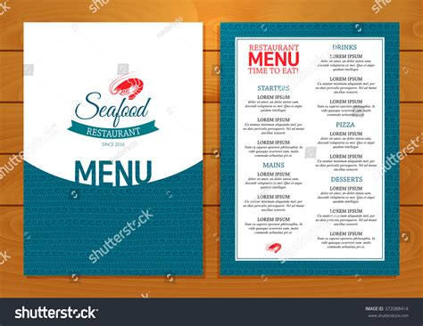 seafood menu templates seafood restaurant menu on wooden background vector