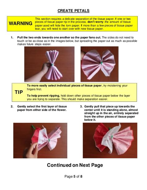 printable instructions on how to make tissue paper flowers how to make tissue paper flowers instructions