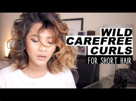 heatless curls for short hair hair tutorial wild carefree curls for short hair youtube