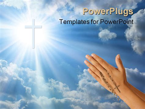 Catholic Powerpoint Templates devoted prayer with rosary in the powerpoint template background of catholic christian