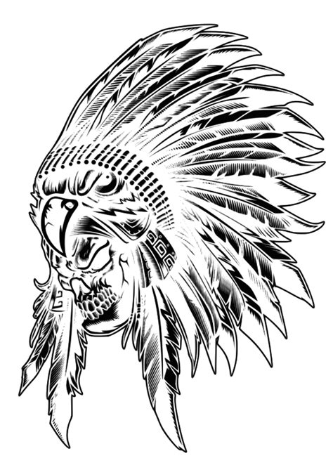 clipart skull indian aborigen