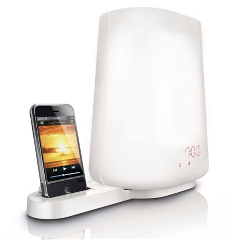 wake up light with battery backup philips wake up light with dock for iphone ipod gadgetgrid