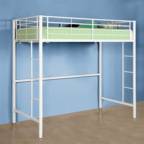 twin size loft bed walker edison steel twin size loft bed white btolwh