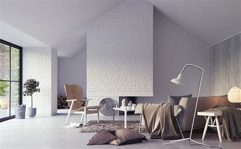 white exposed brick interior wall render interior design