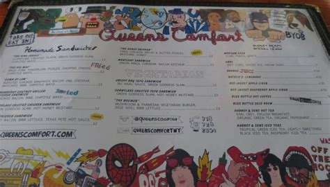 comfort cafe menu comfort food and comics at queens comfort nyc