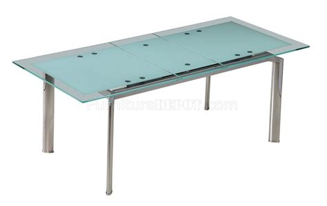 extendable dining table w glass top by whiteline imports