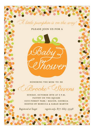 Fall And Thanksgiving Party Wording Ideas Polka Dot Design Fall Baby Shower Invitation Templates